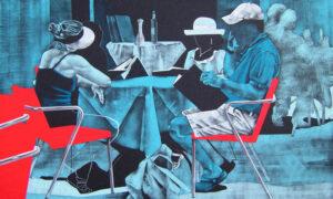 Daniela Caciagli, acrilico e olio su tela, cm 120 x 200 (mostra IN THE SHADOWS)